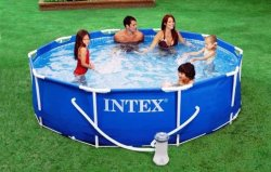 Бассейн INTEX Metal Frame 28210 + насос
